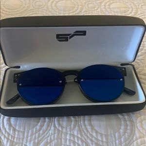 Spitfire sunglasses mirrored lens new in case blue